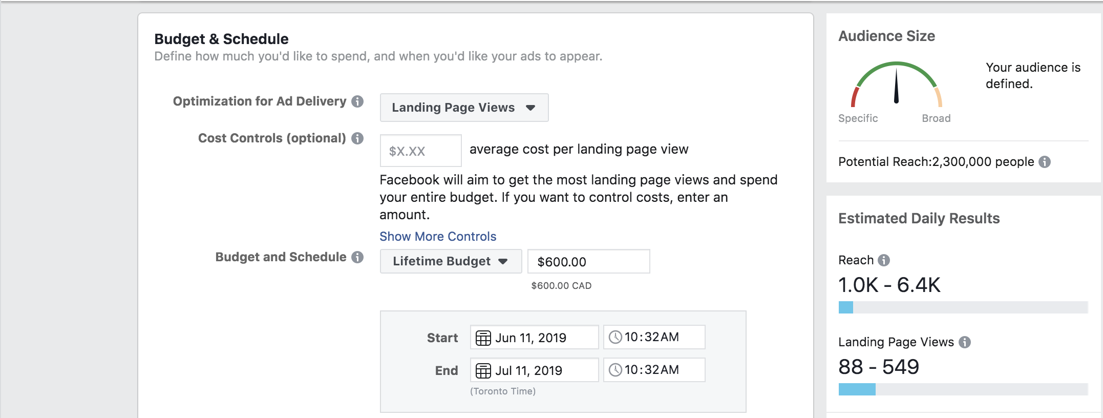 Example of a    Facebook ad    with a budget of $600.00