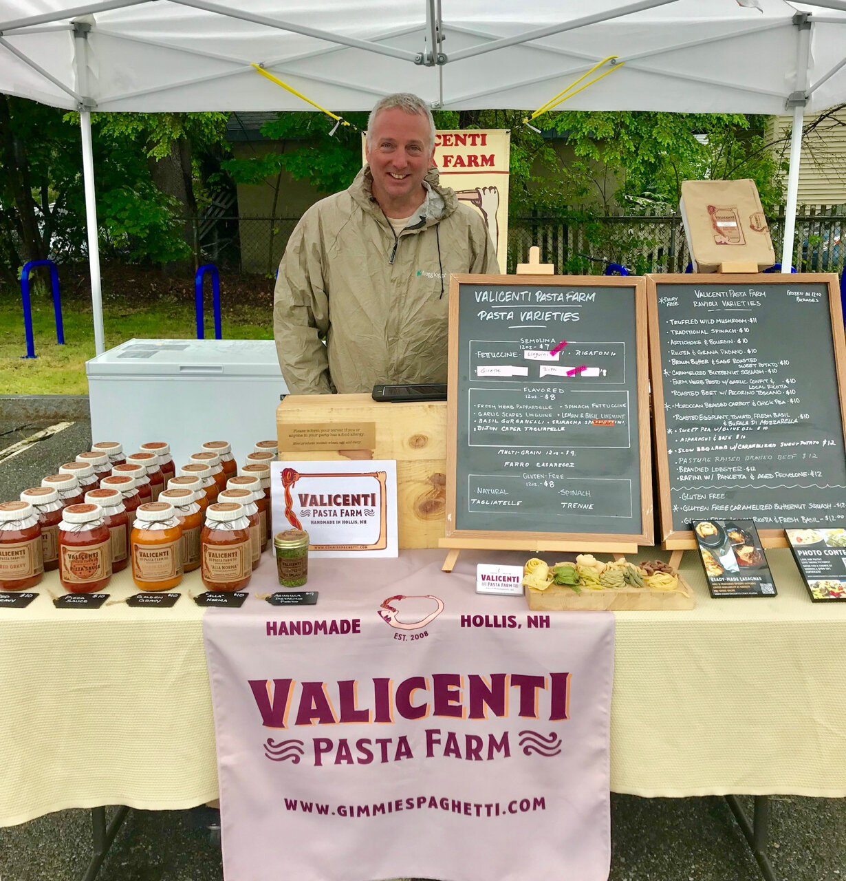 Valicenti Pasta FarM - Hollis, NHEvery other week: 6/13, 6/27, 7/11, 7/25, 8/8, 8/22, 9/5, 9/19, 10/3, 10/17, 10/31GimmieSpaghetti.comInstagram: @Valicenti_Pasta_FarmTwitter: @ValicentiPastaFacebook: @ValicentiPastaFarmFresh pasta and sauces made from our own organic ingredients, or locally-grown ingredients. We cook as if we're cooking for family and friends.