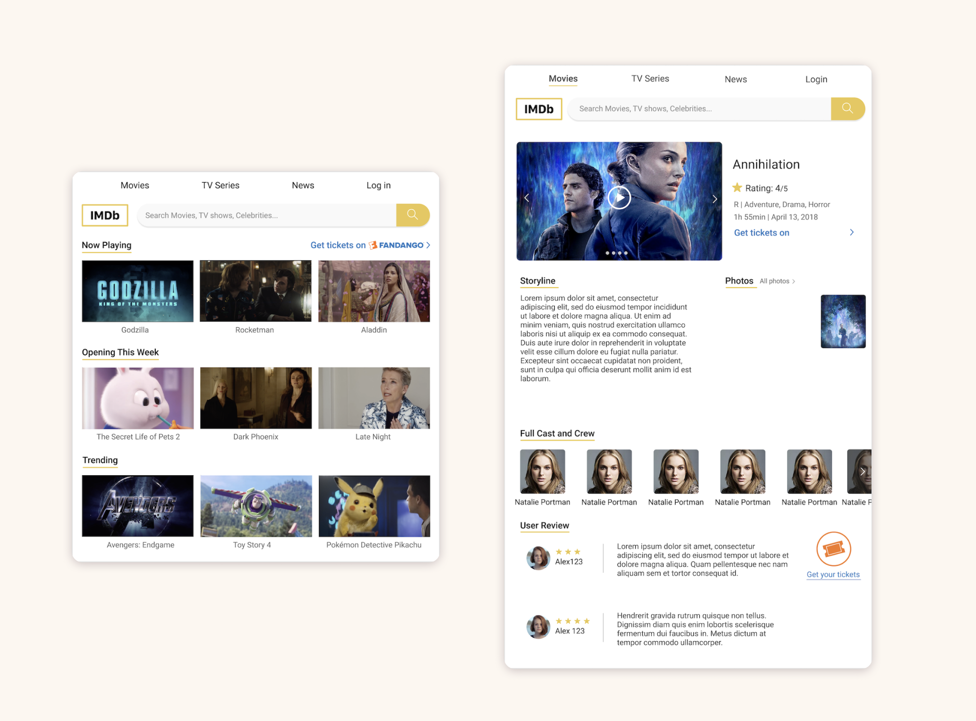 Imdb Redesign Web Design Fans Experience Redesigned Kecheng Sun