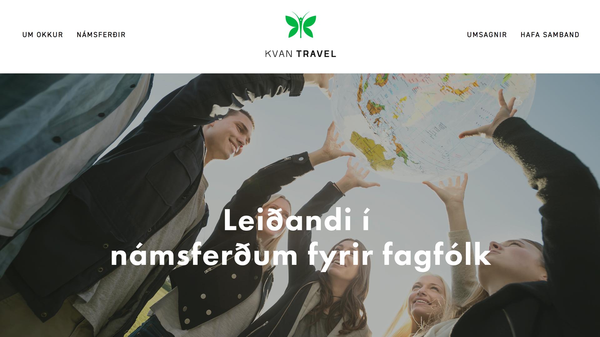 KVAN Travel: Vefhönnun + grafísk hönnun + logo hönnun + mörkun