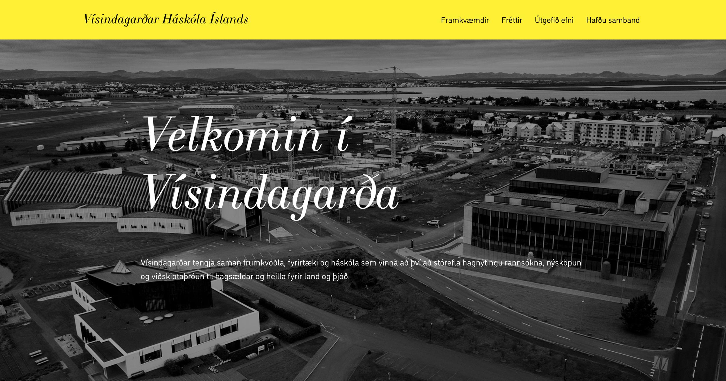 Vísindagarðar Háskóla Íslands: web design + web development + branding