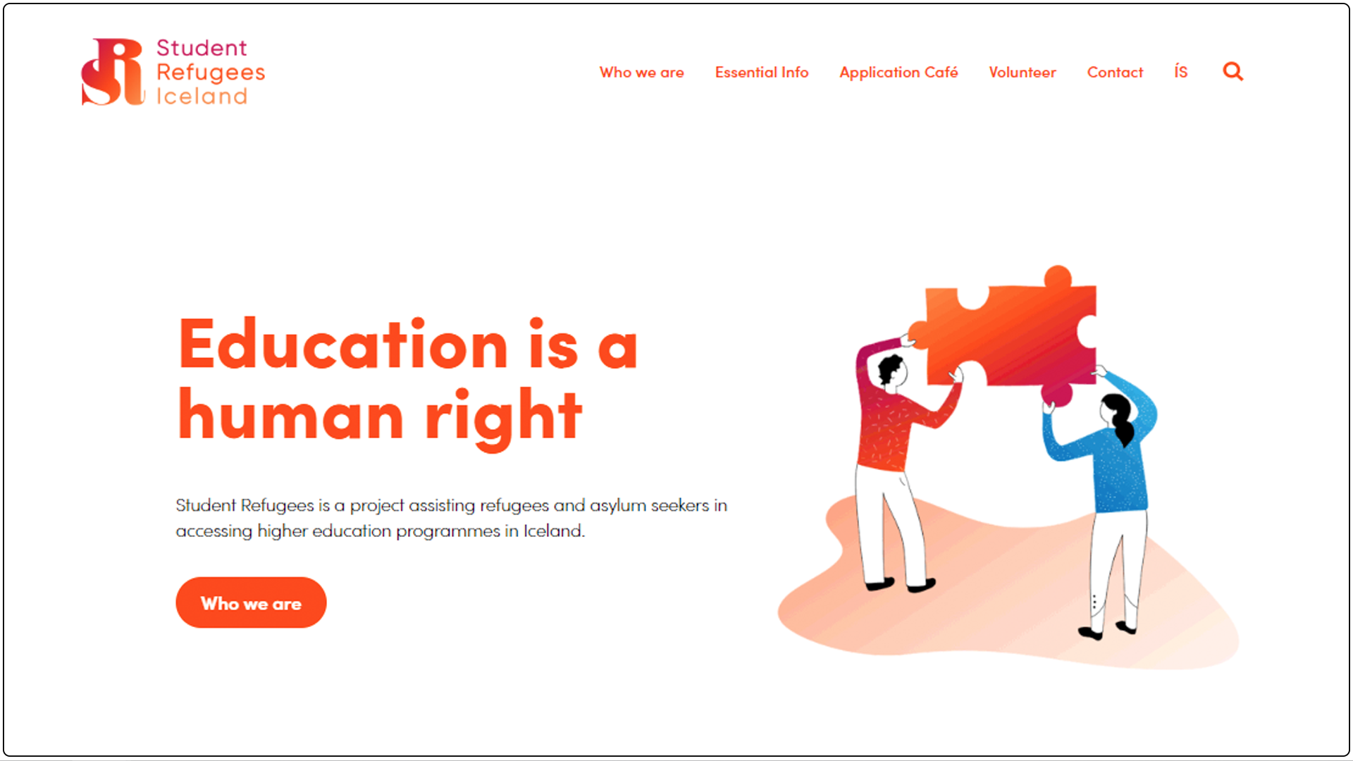 Student Refugees Iceland: web design + web development + logo design + branding + illustrations + animations
