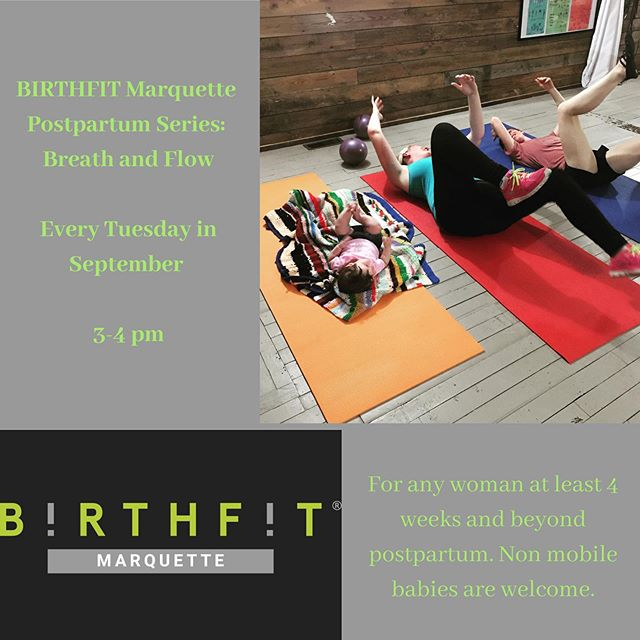 Our Postpartum Series: Breath and Flow begins one week from today, and there is still time to register! 💚Come and move with us while intentionally focusing on your postpartum healing and recovery! This class is for women at least 4 weeks and beyond postpartum, and non-mobile babies are welcome to attend with you! DM with any questions or concerns, and register at the link in our profile! 💪🏽 #birthfit #birthfitmarquette #fitness #nutrition #mindset #connection #movement #exercise #rehab #healing #recovery #core #pelvicfloor #postpartum #breath #posture #birth #labor #babies #dns #development #functionalprogression