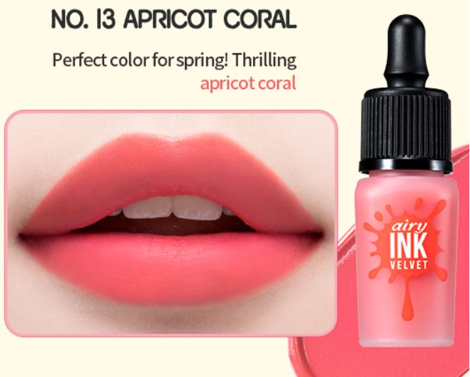 No.13 Apricot Coral - Peripera's Airy Velvet tint series are famous for their beautiful, vibrant colors along with the smooth velvety texture.