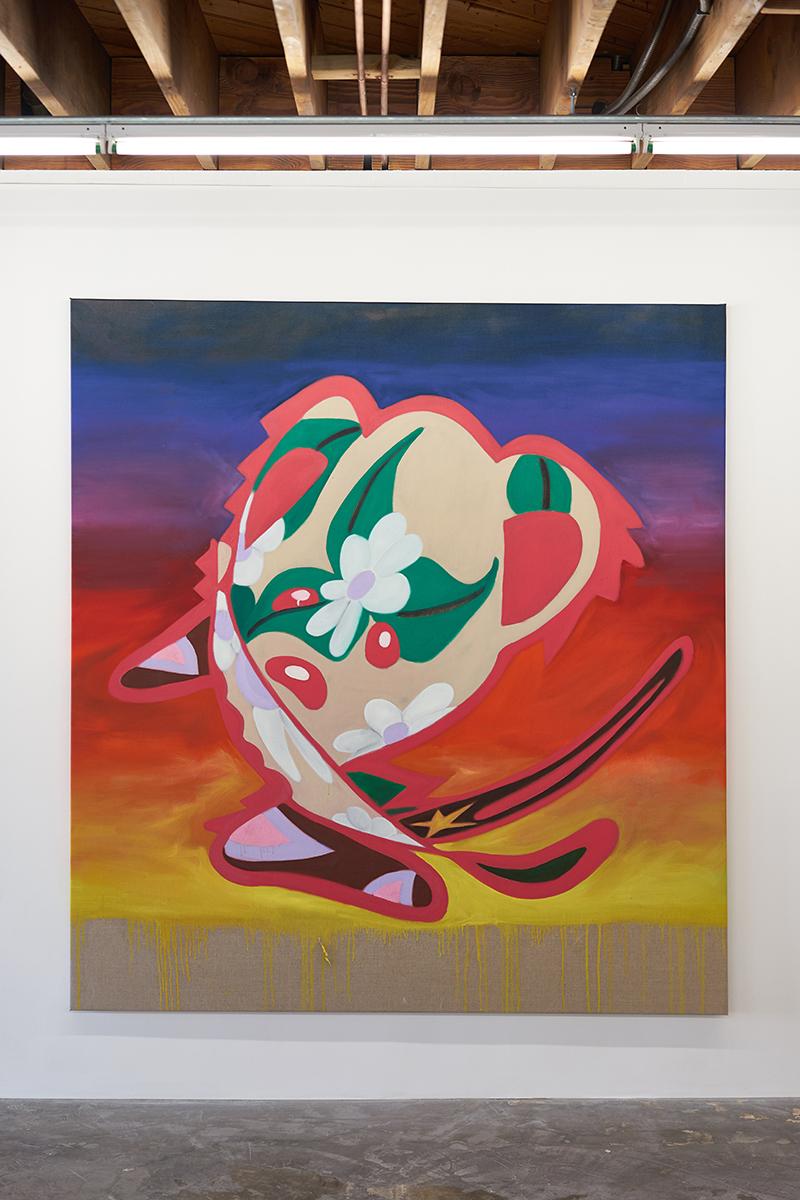 Tina Braegger   Life's a Trip,  2018  Oil on canvas  78 3/4 x 72 7/8 inches (200 x 185 cm)