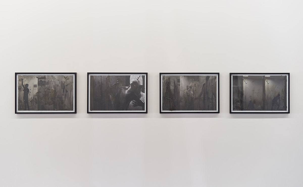 Nick Herman   Traplines Trap 1 - 4 , 2019  Composited video stills. Archival inkjet print and mixed media. From a series of 16 total.  12 3/4 x 18 3/4 x 1 1/4 inches (32.4 x 47.6 x 3.2 cm) each