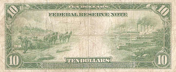 $10 bill from 1914 printed on hemp paper