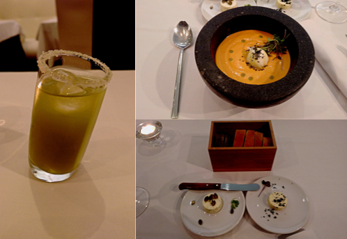 Menu degustación @ Metro Bistro: Part of what I had: celery mojito, salmorejo with olive oil ice cream, 3 kinds of bread with 2 kinds of butter