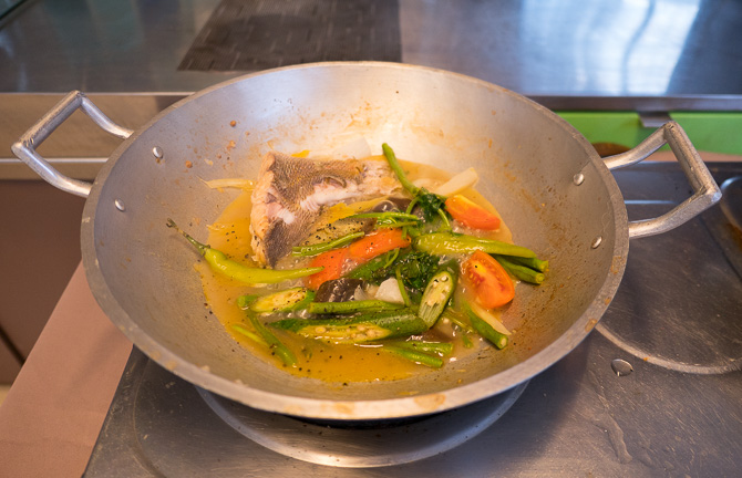 My fish sinigang, with vegetables and a tamarind broth
