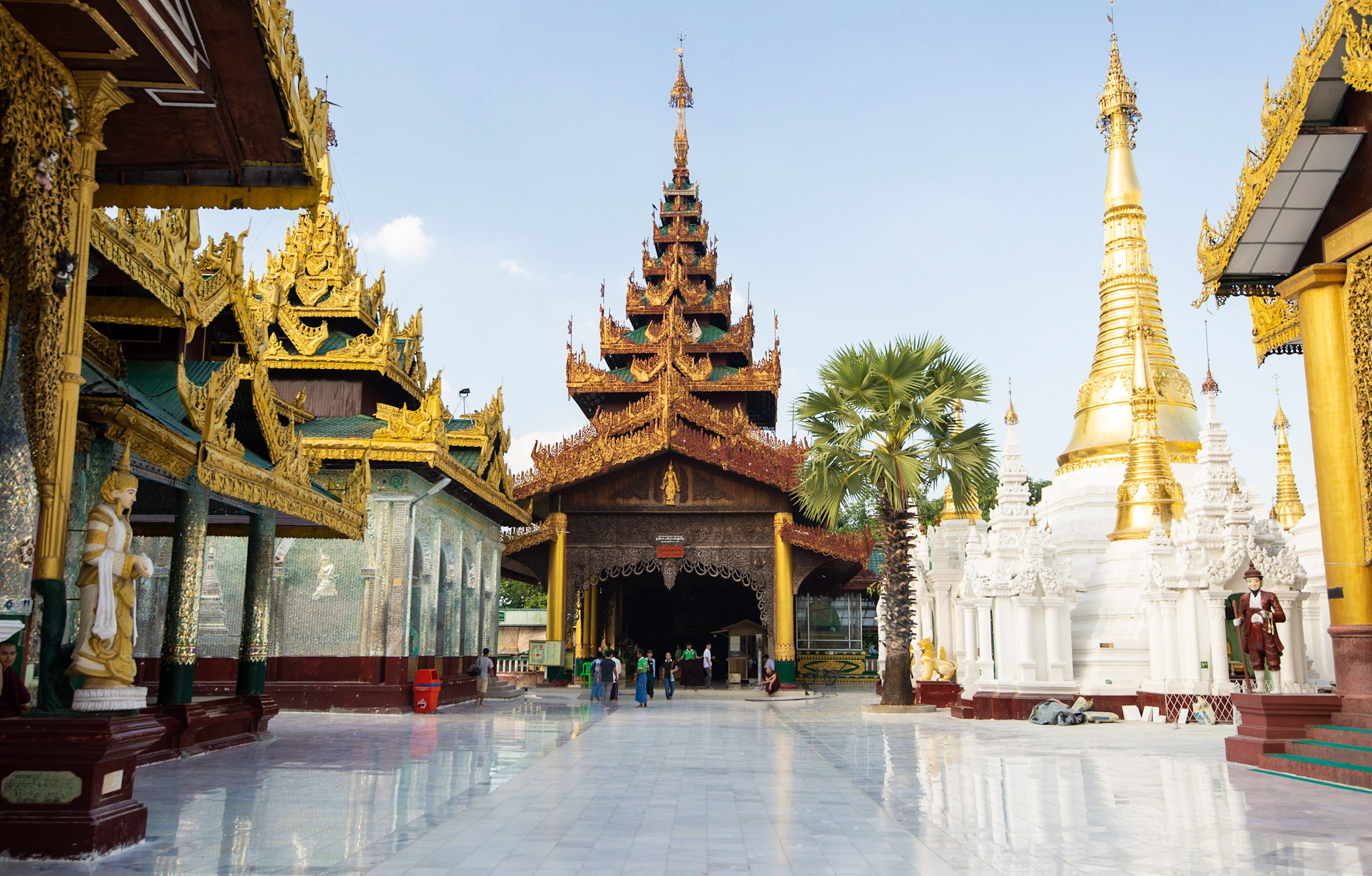 Shwedagon Pagoda's North Entrance (inside): Spot tour guides on the right