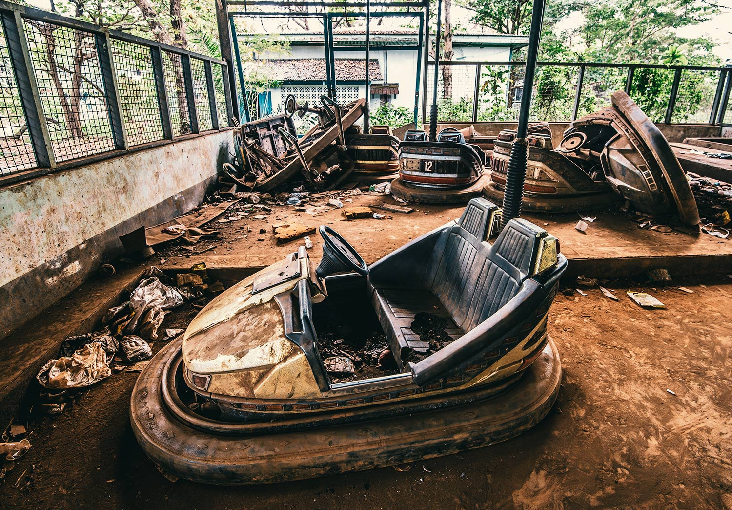 Broken bumper cars in the Abandoned Amusement Park: Escaped the pile up but not the ravages of time.