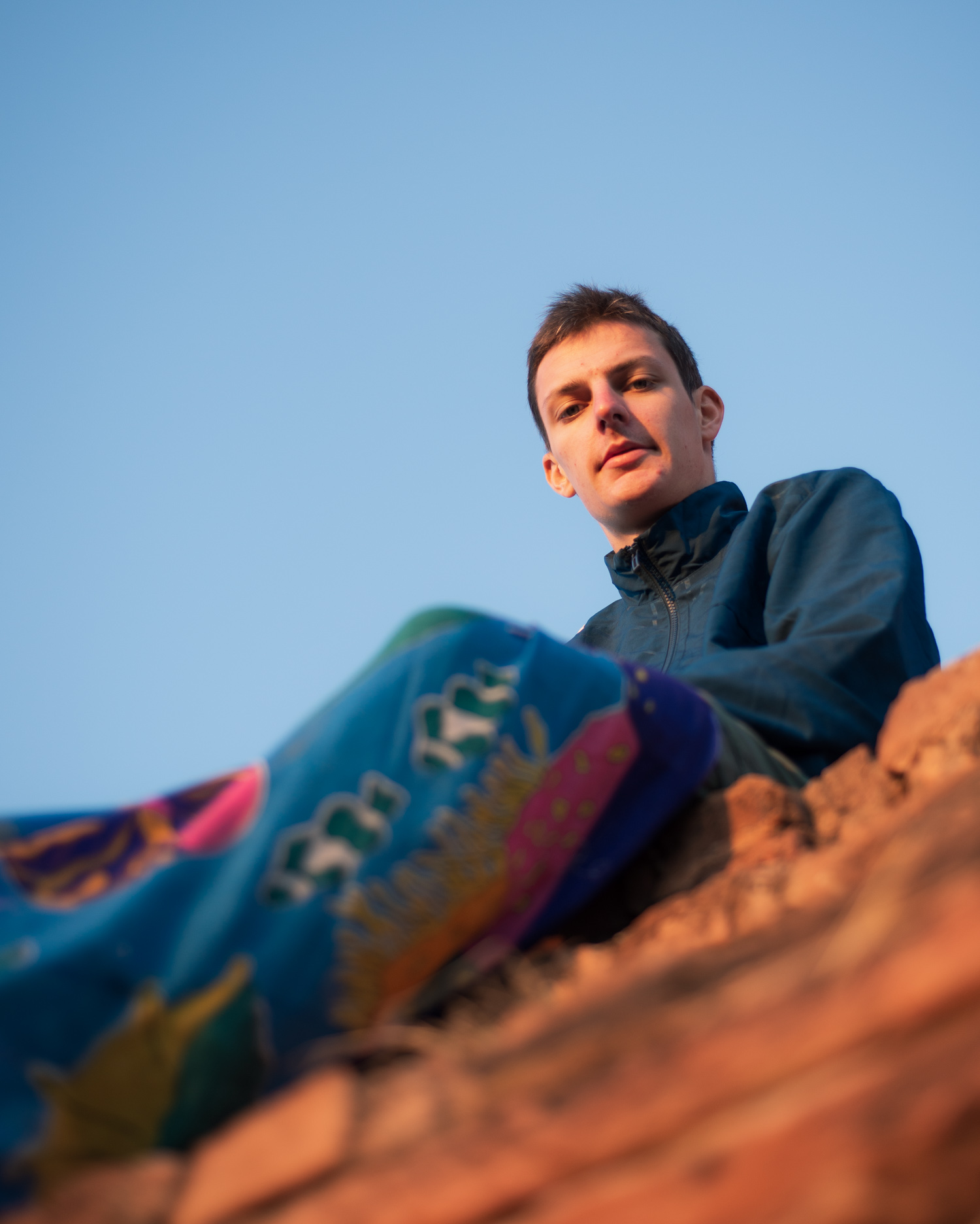 Bagan: Lucas was prepared with a blanket to watch sunrise from the top of the stupa.
