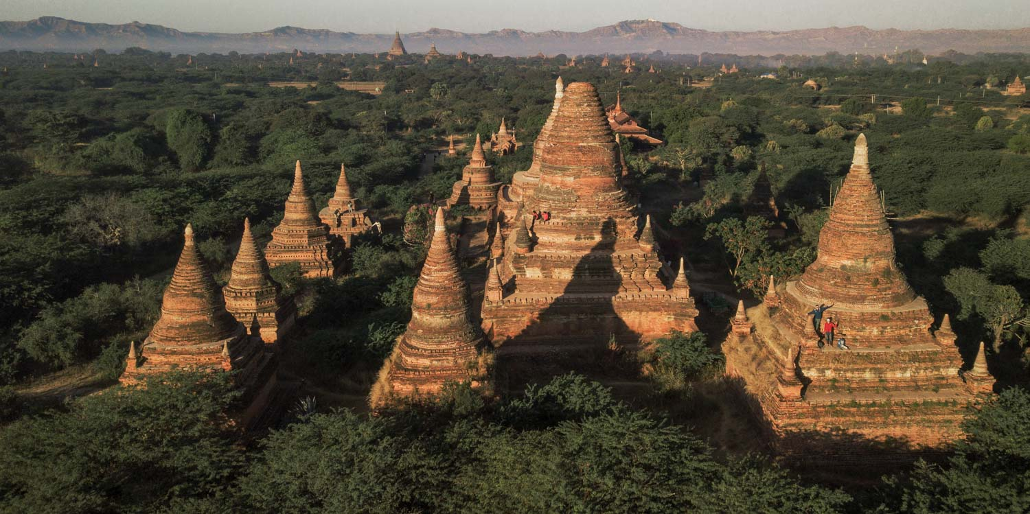 An aerial view (drone photography) of big Bagan stupas you can climb.