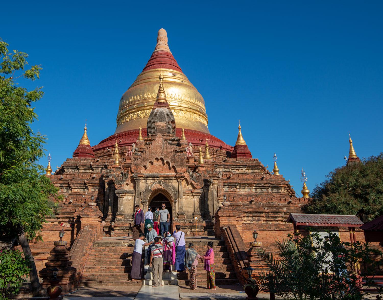 The five-sided (pentagonal) Dhammayazika (Dhammayazaka) Pagoda in Bagan also has a golden domed stupa.
