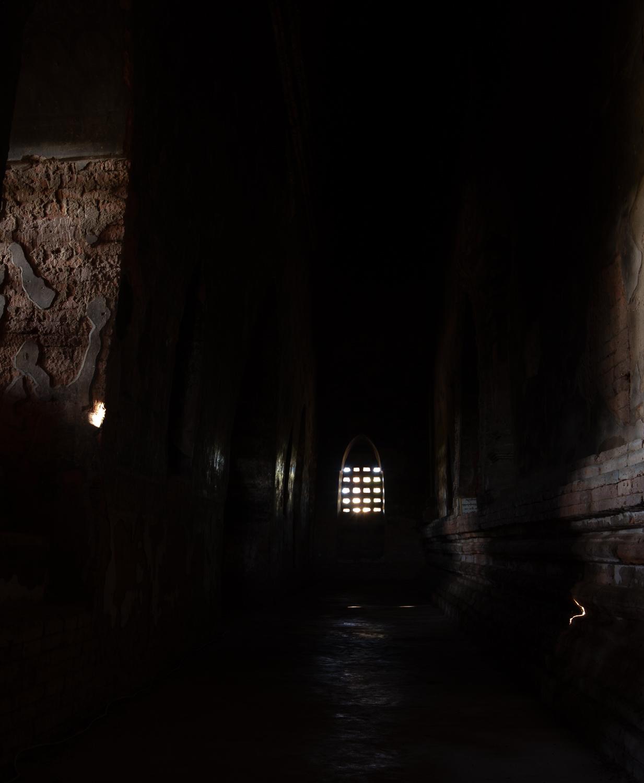 Patothamya Temple in Bagan has a dark, mysterious atmosphere.