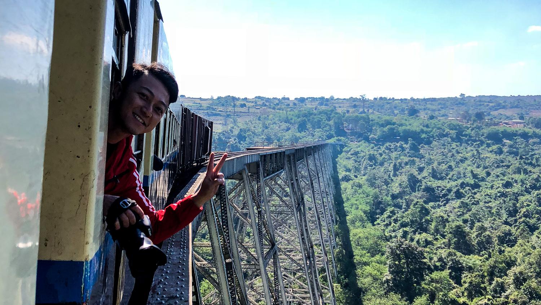 Crossing the Gokteik Viaduct bridge on the Mandalay-Lashio train between Pyin Oo Lwin and Hsipaw.