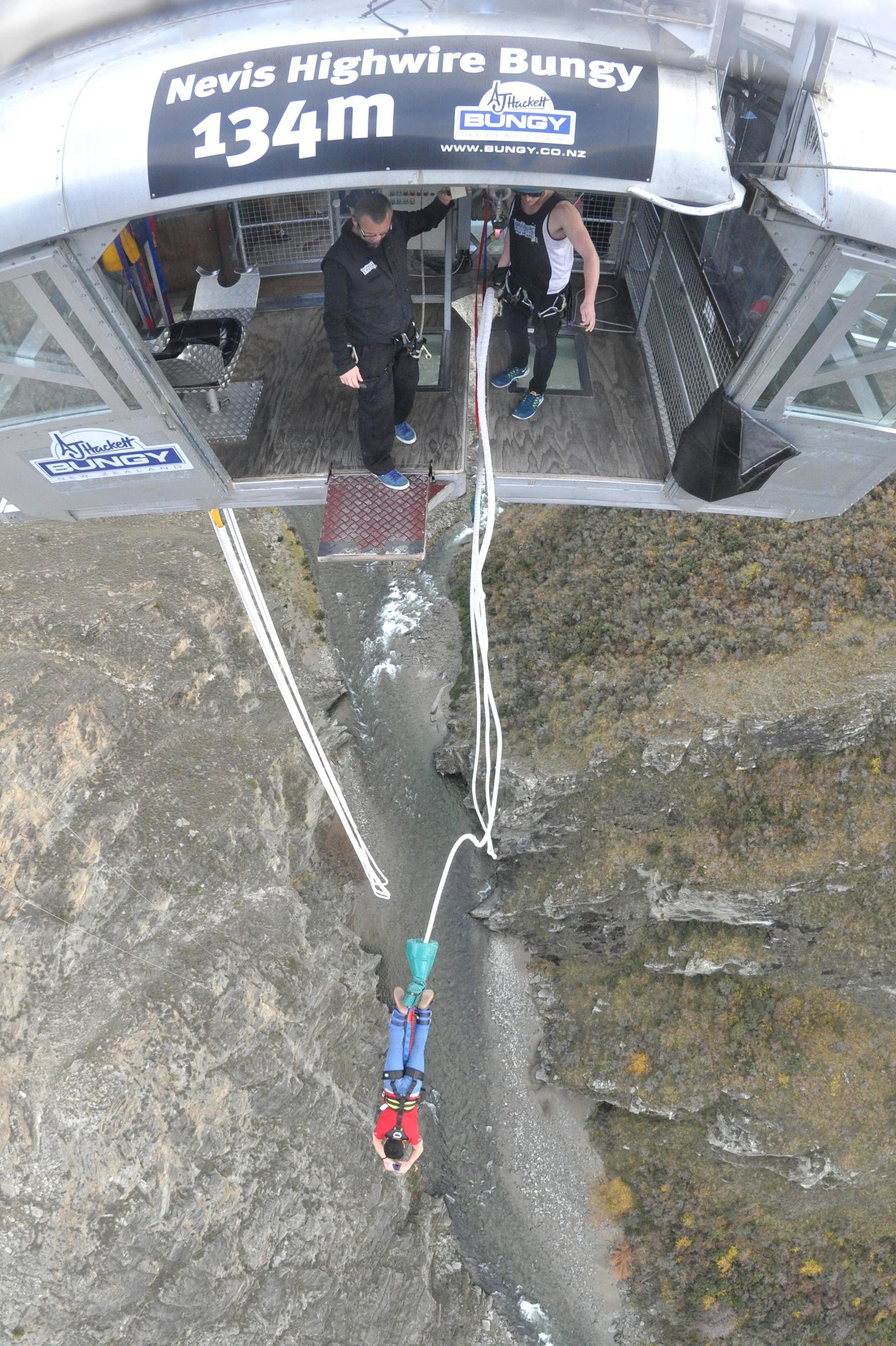Mid-jump of the AJ Hackett Nevis Bungy Jump in Queenstown New Zealand.