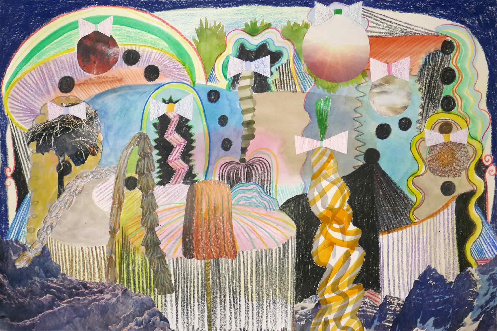 Uit de serie  Endings and beginnings  collage; foto's, inkt, potlood, aquarel 26 x 40 cm, 2018