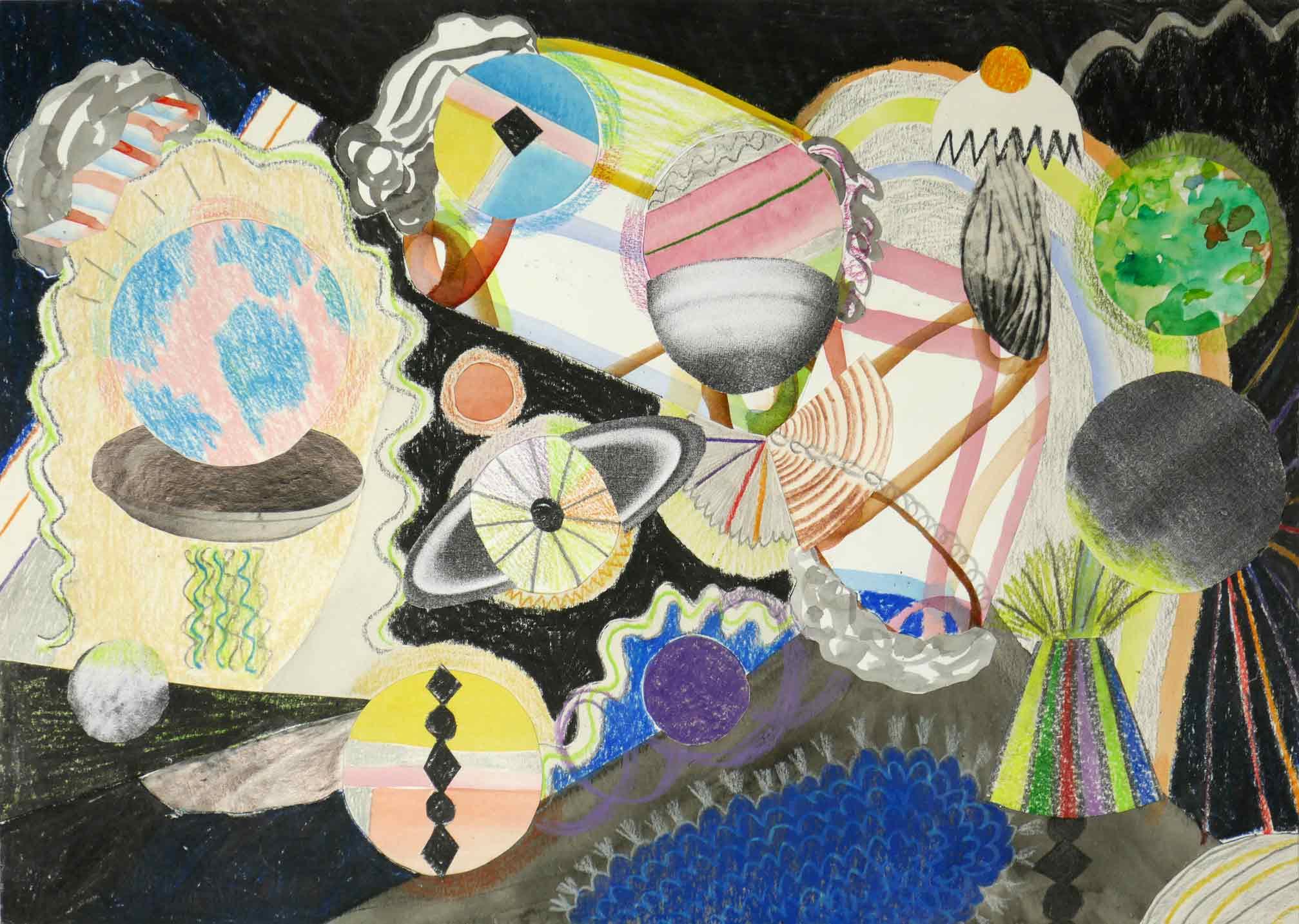 Uit de serie  Boulettes  collage; inkt, potlood, fotokopieën, aquarel 21 x 29 cm, 2018