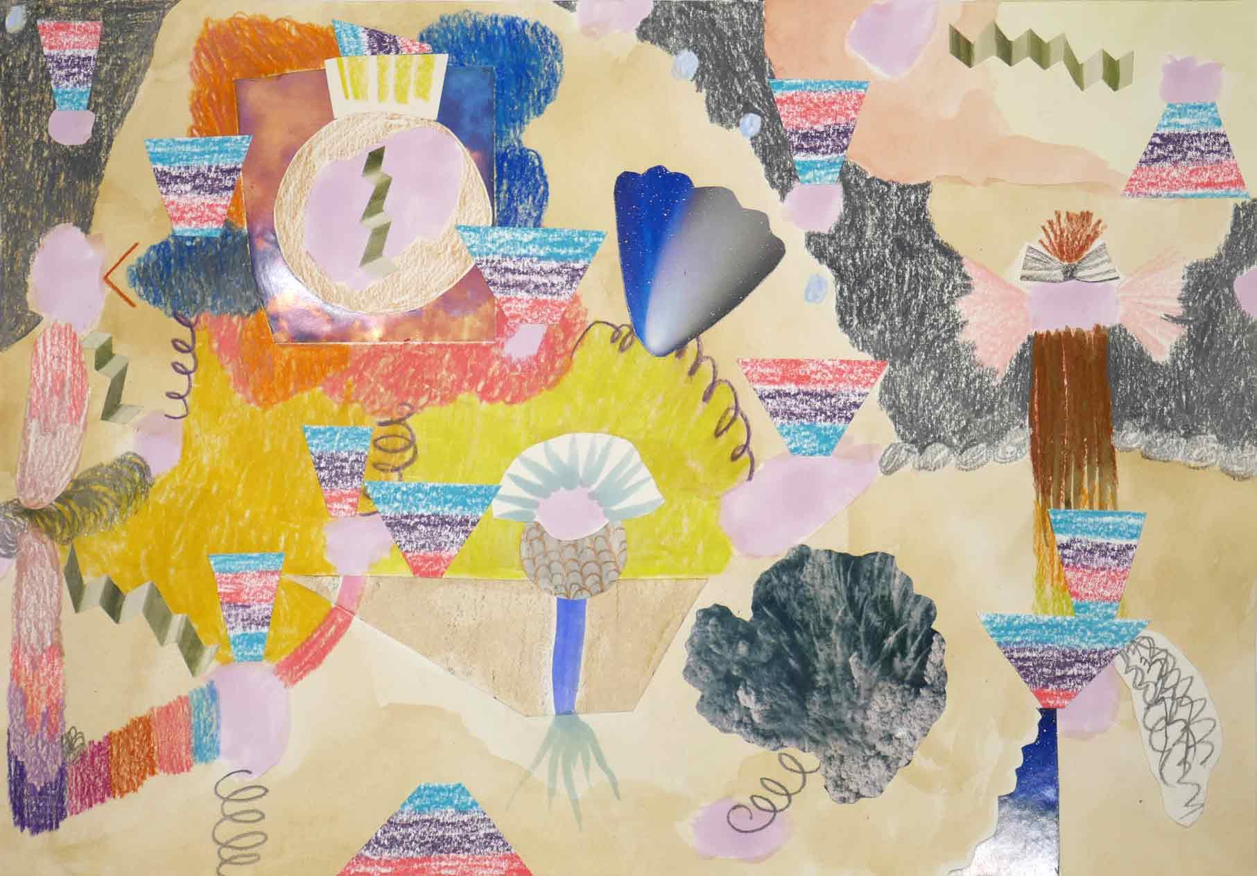 Uit de serie  Endings and beginnings  collage; inkt, foto's, potlood, aquarel 22 x 33 cm, 2018