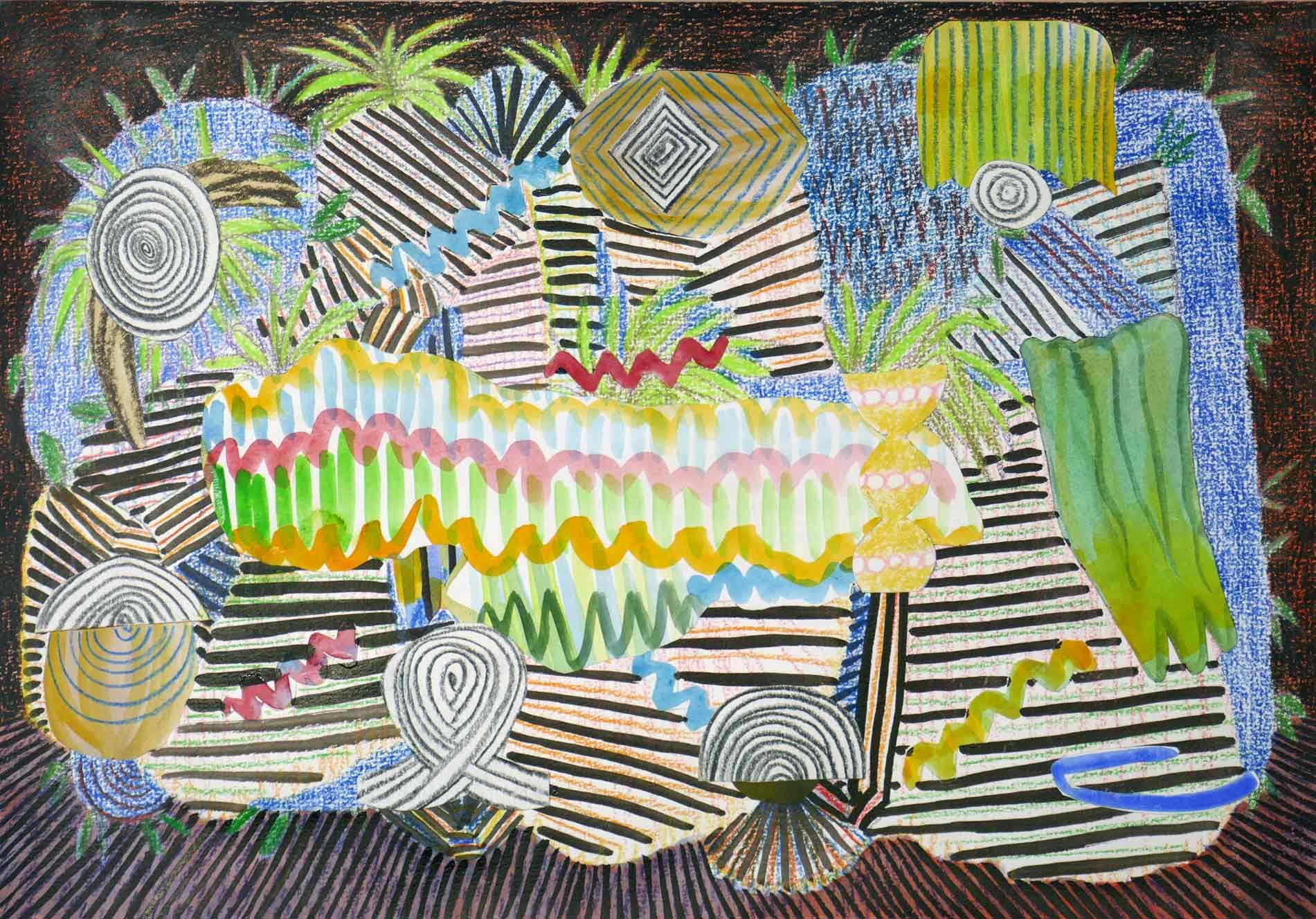 Uit de serie  Singing from the bushes  collage; inkt, potlood, aquarel, gouache 21 x 29 cm, 2018