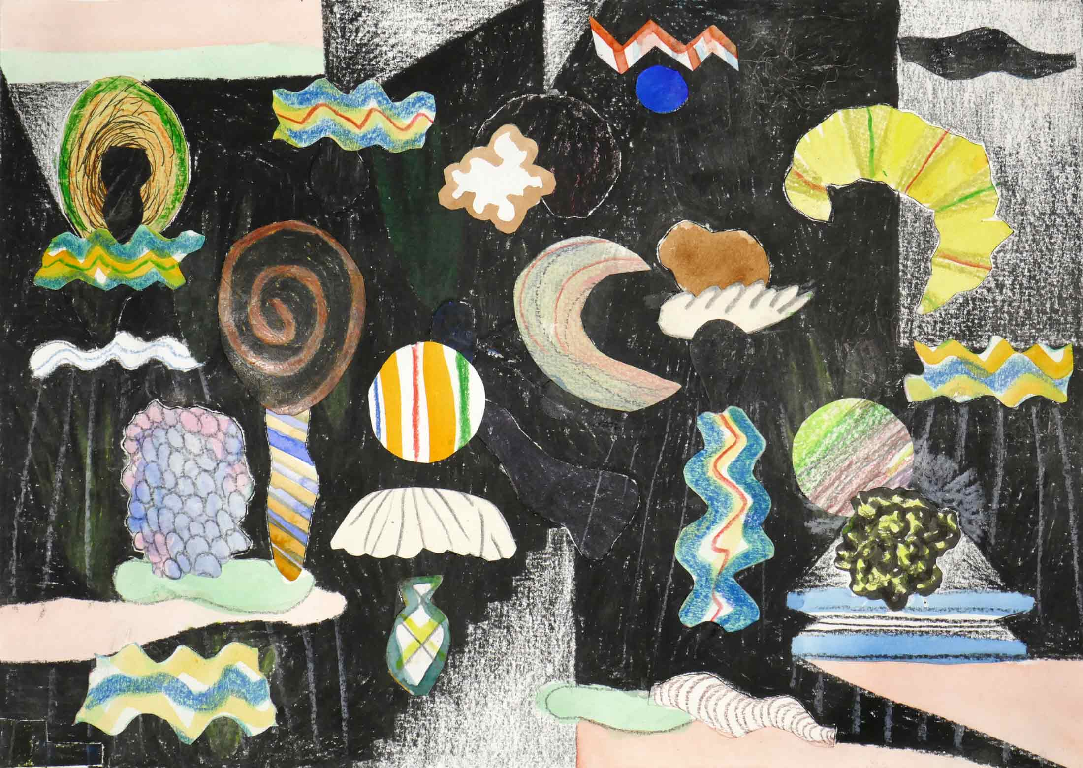 Uit de serie  Verloren voorwerpen (Lost items)  collage; potlood, inkt, aquarel, gouache 21 x 29 cm, 2018