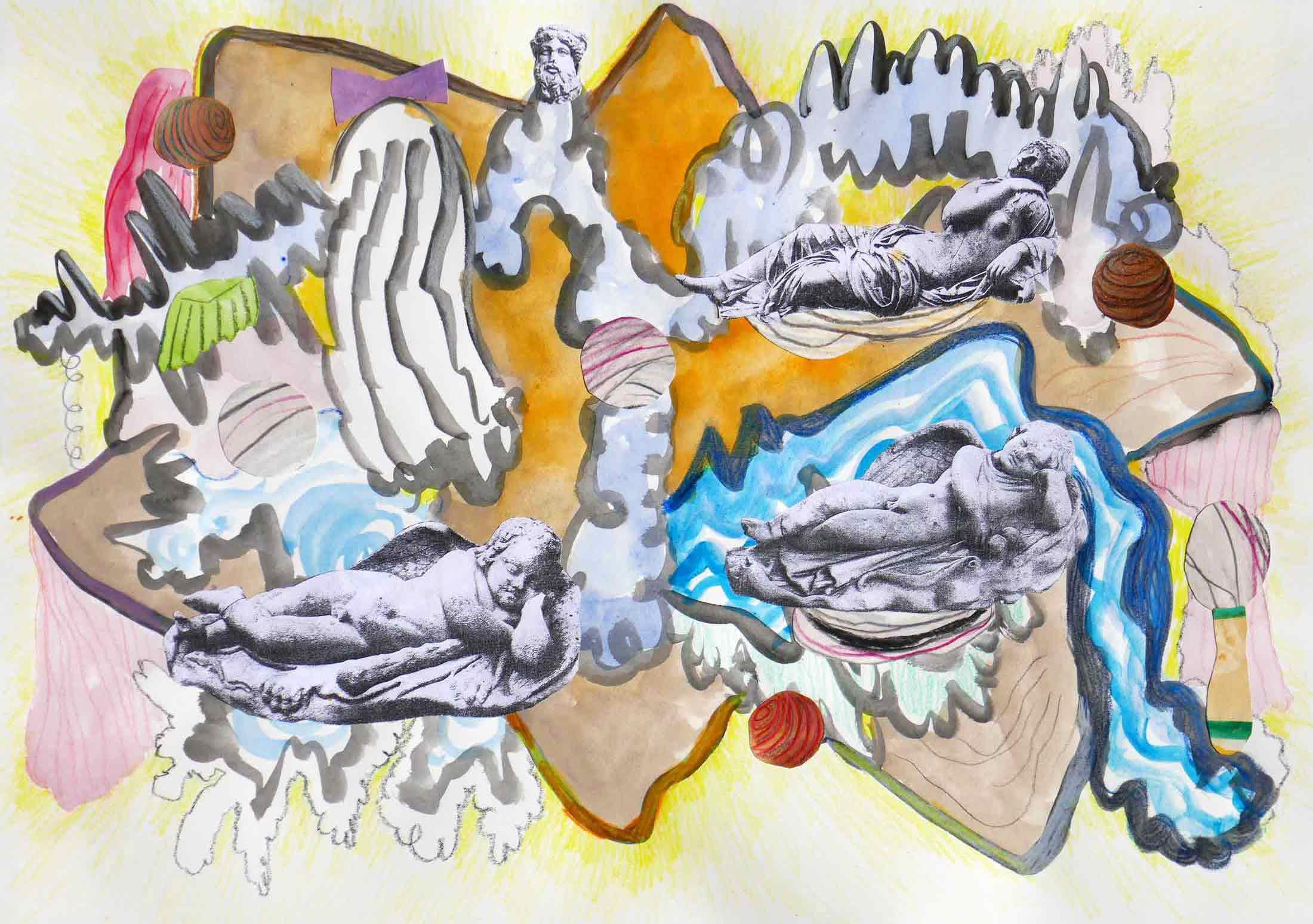 Ruïnes (Ruins)  collage; potlood, fotokopieën, aquarel, gouache 29 x 42 cm, 2018