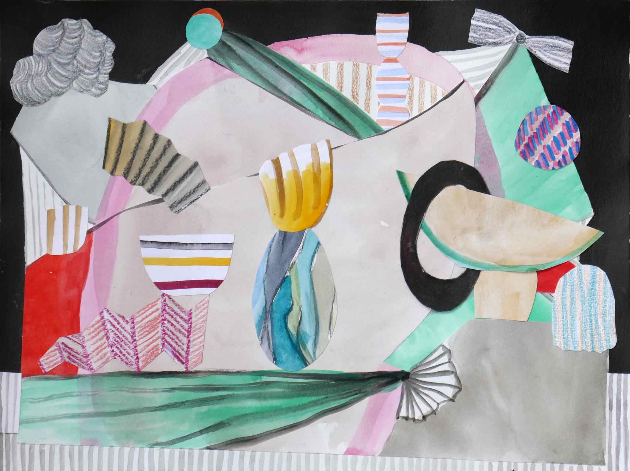 Uit de serie  Wellness  collage; inkt, potlood, aquarel, gouache 24 x 32 cm, 2018