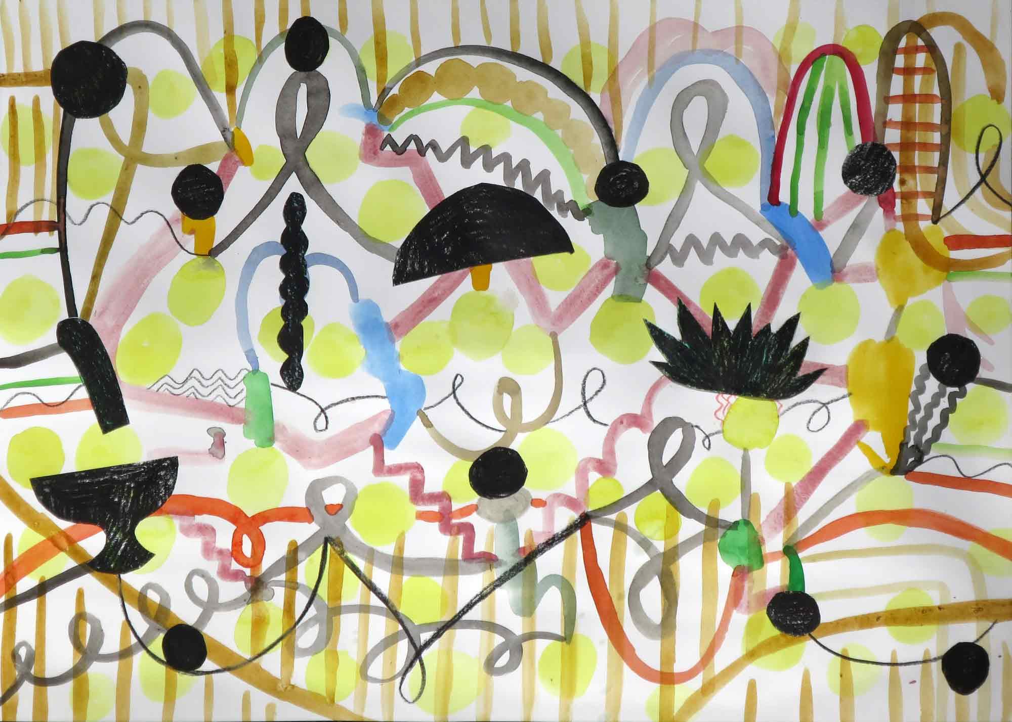 Aan en uit (On and off)  collage; potlood, aquarel, gouache 29 x 42 cm, 2017