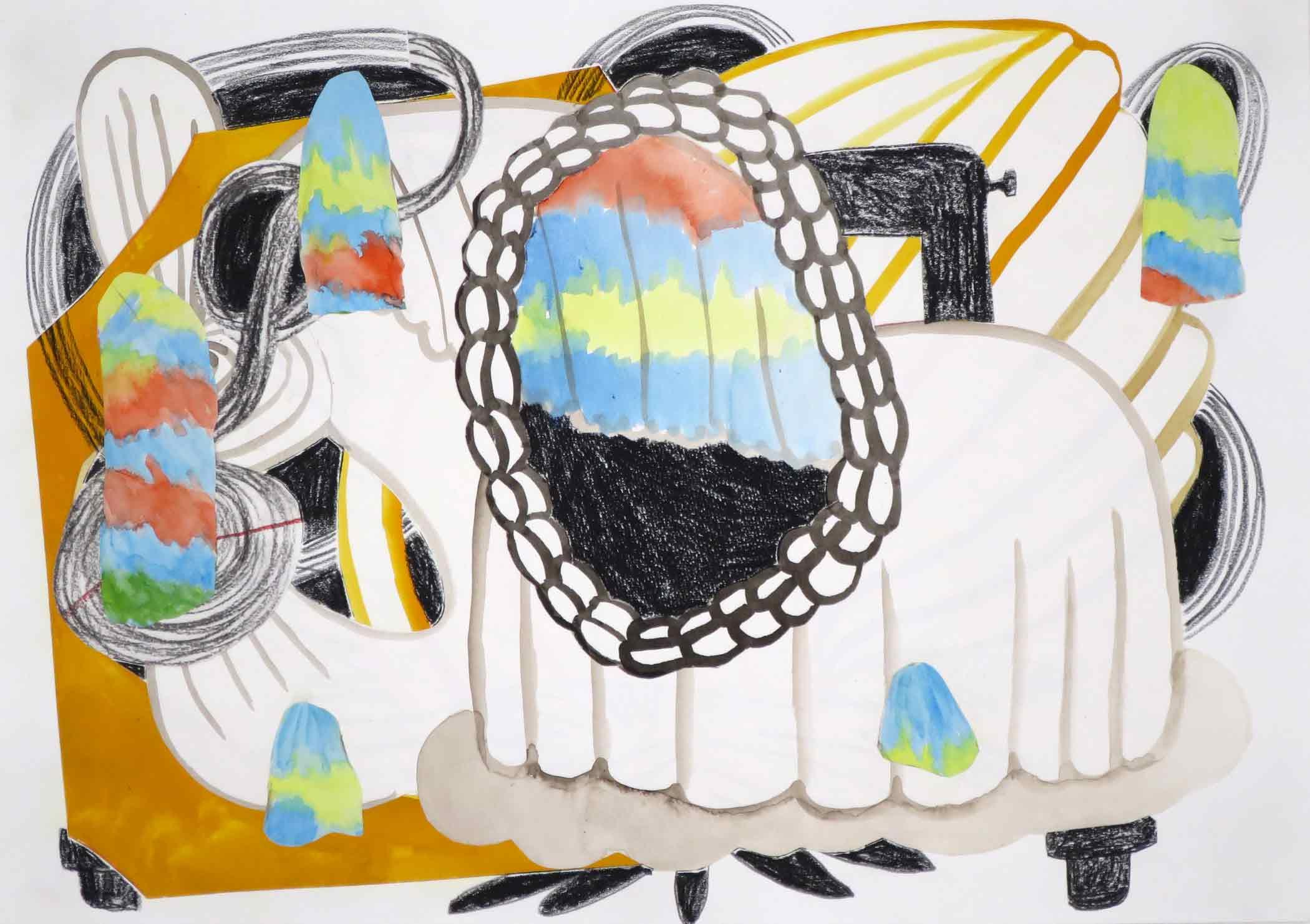 Verloren titel (Lost title)  collage; potlood, gouache, aquarel 29 x 42 cm, 2017