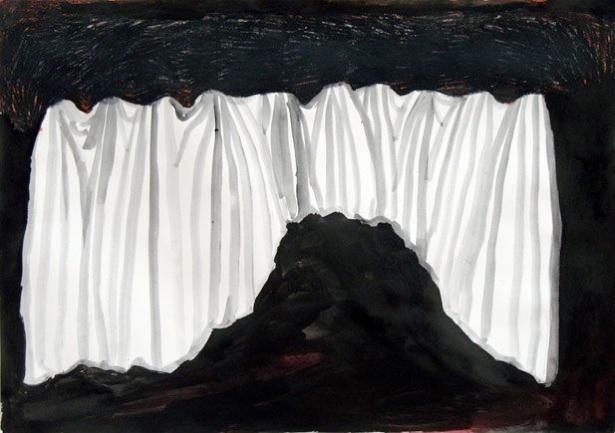 Uit de serie  Verwachtingen (Expectations)  potlood, inkt, gouache 29 x 42 cm, 2012