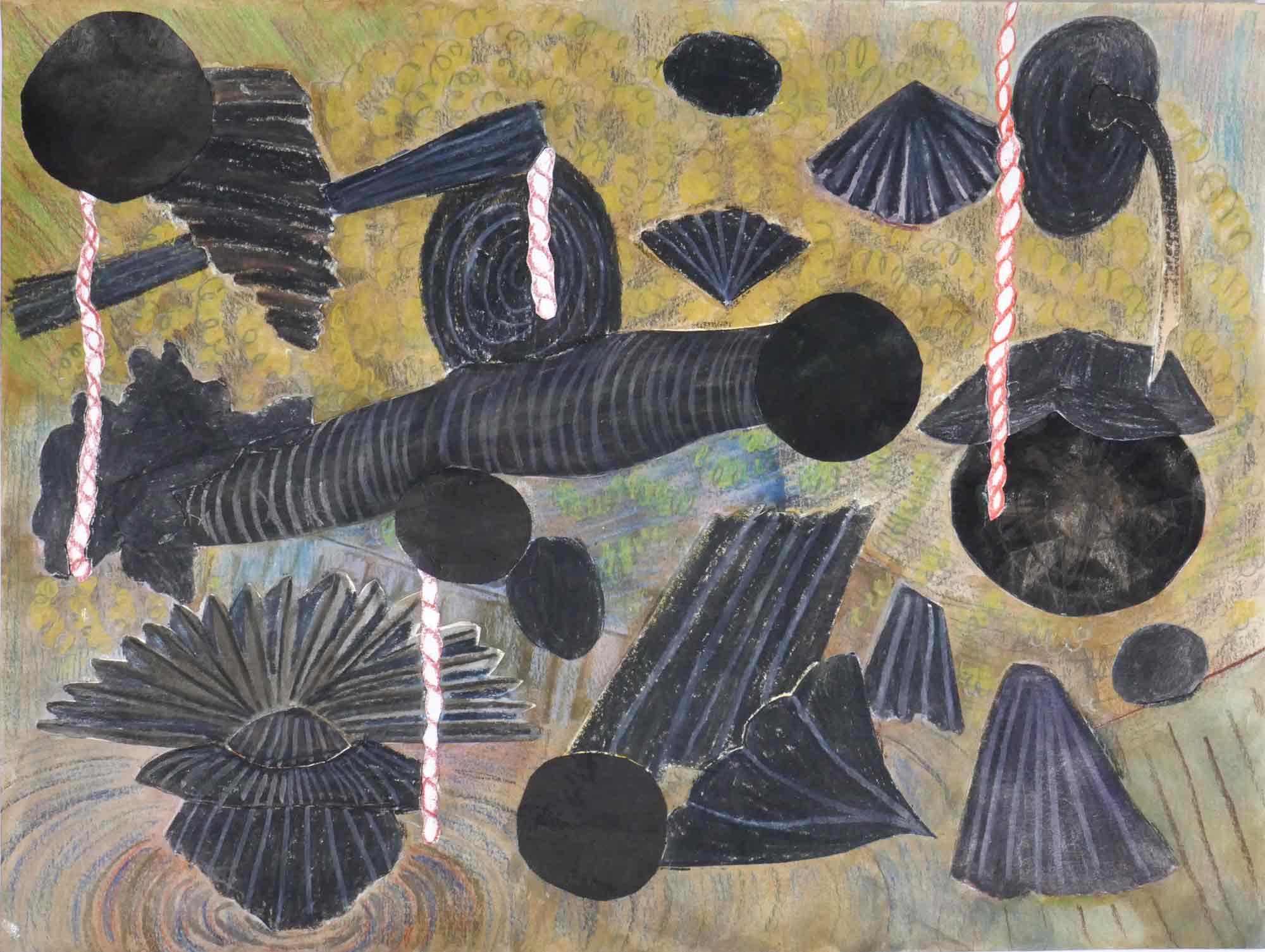 Gepeins (Brooding)  collage; inkt, potlood, aquarel 24 x 32 cm, 2017