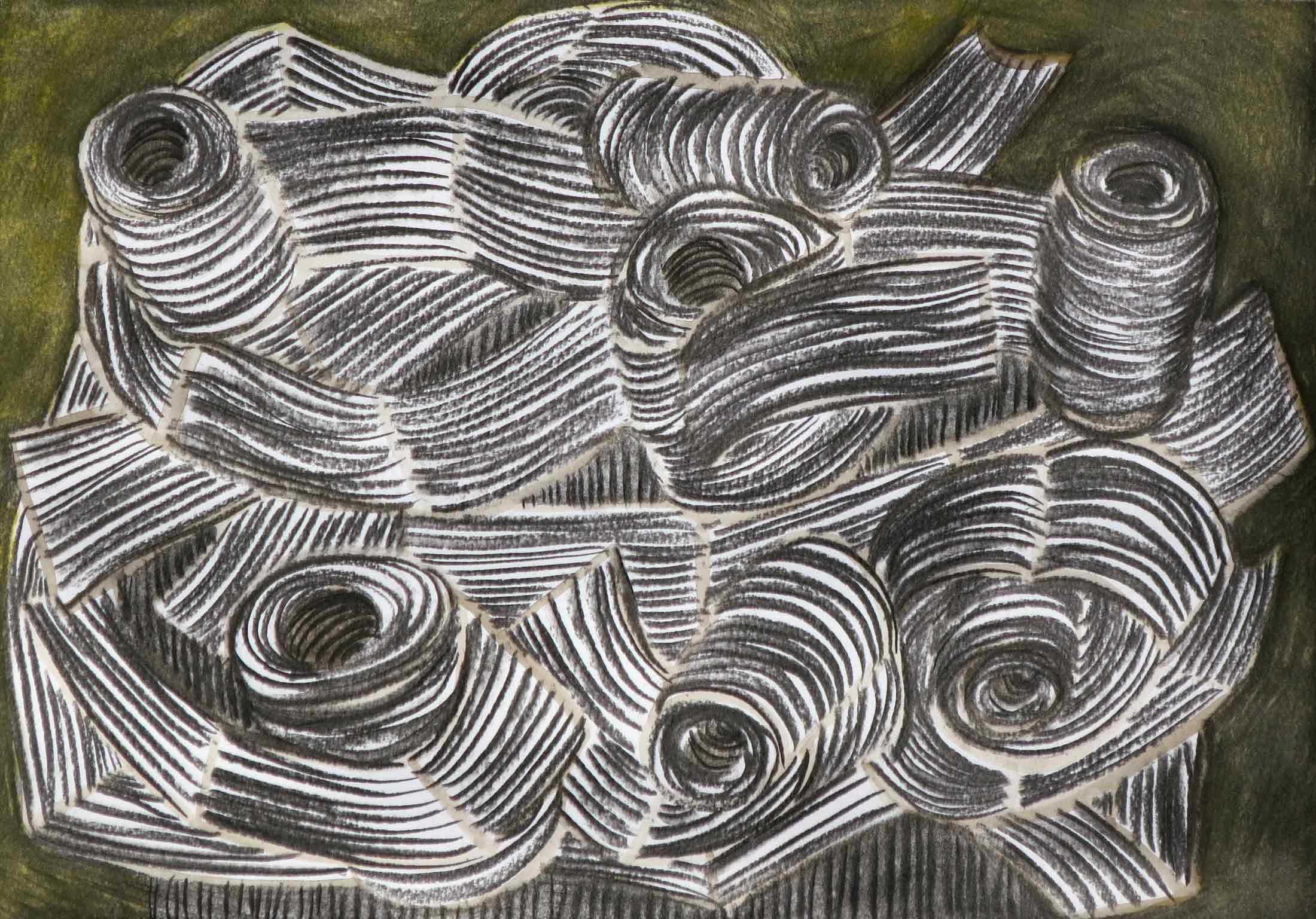 Rollers  houtskool, gouache 27 x 39 cm, 2015