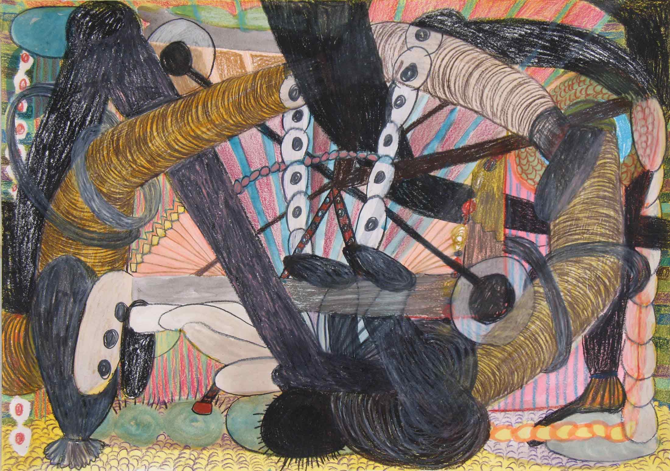 Uit de serie  Fitness  potlood, gouache, aquarel 29 x 42 cm, 2014