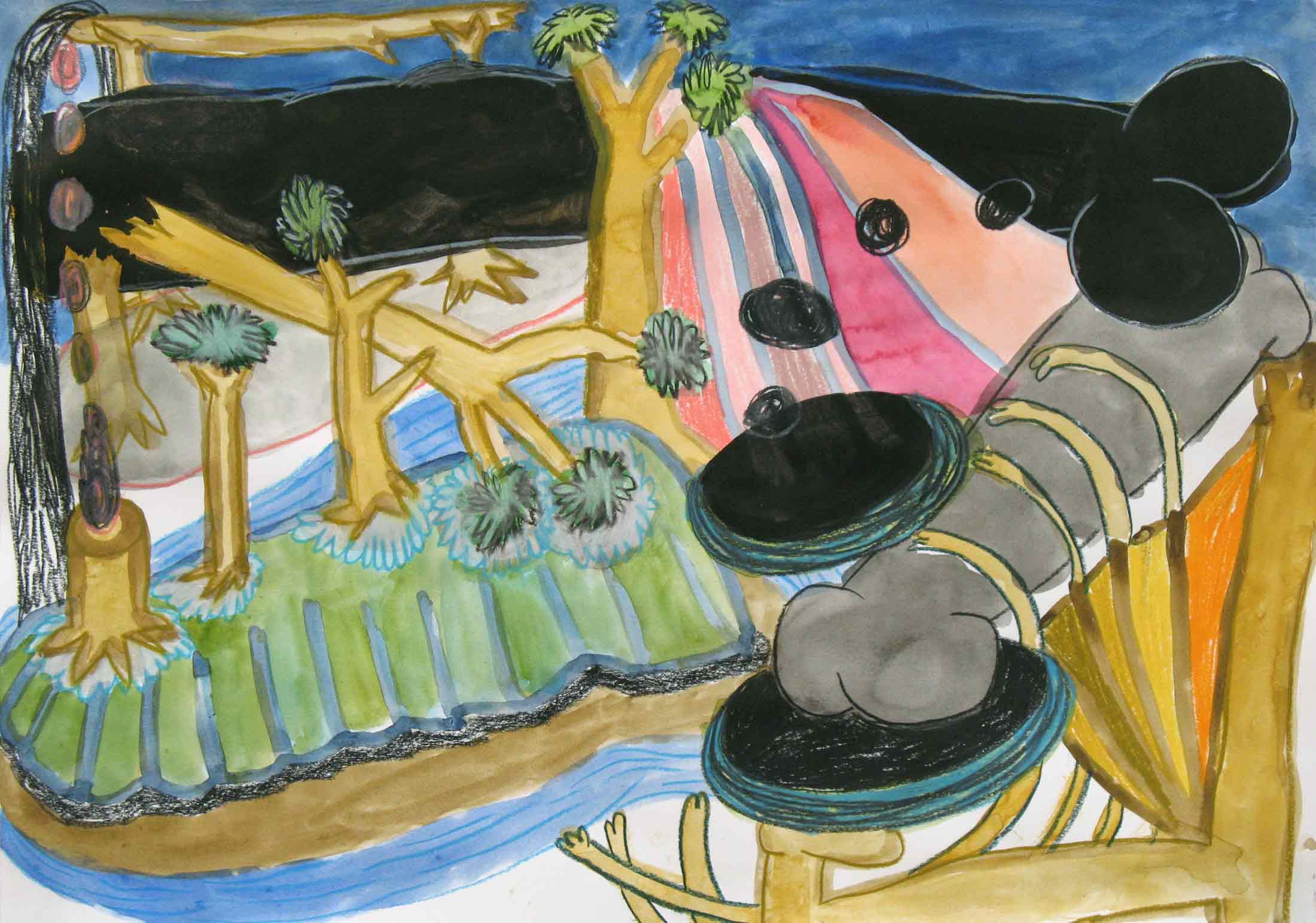 Uit de serie  La tombe des tombeurs  potlood, inkt, gouache, aquarel 29 x 42 cm, 2014