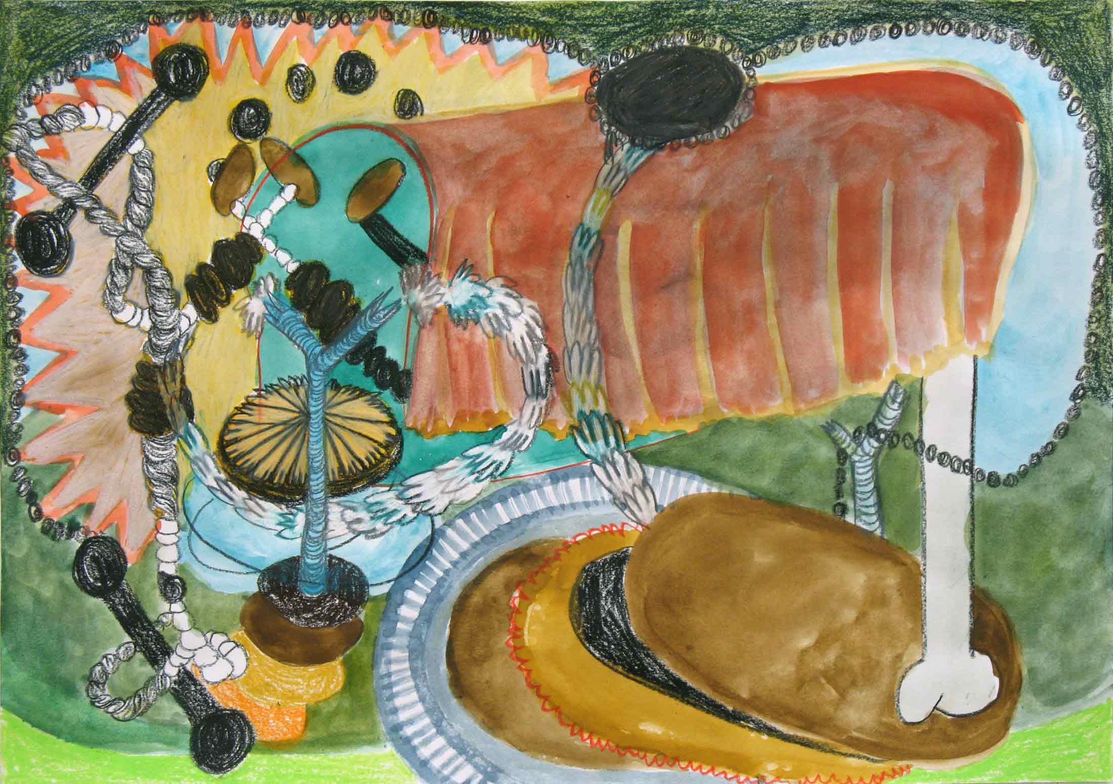 Uit de serie  La tombe des tombeurs  potlood, gouache, aquarel 29 x 42 cm, 2014