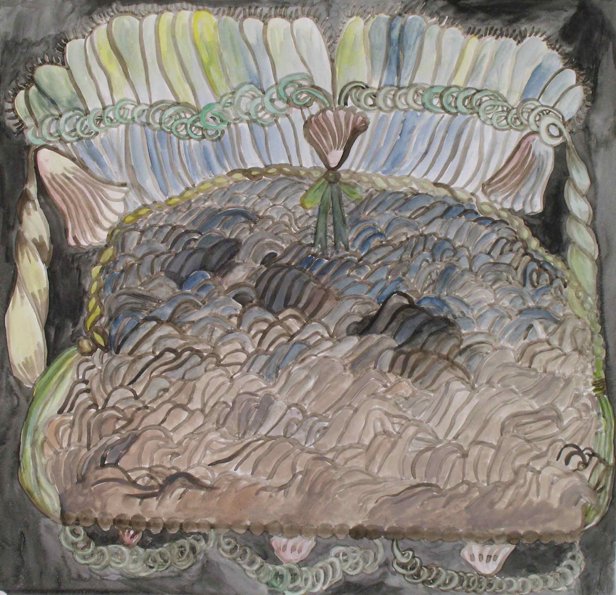 Bodem van de zee (Bottom of the sea)  aquarel, gouache 42 x 43 cm, 2010