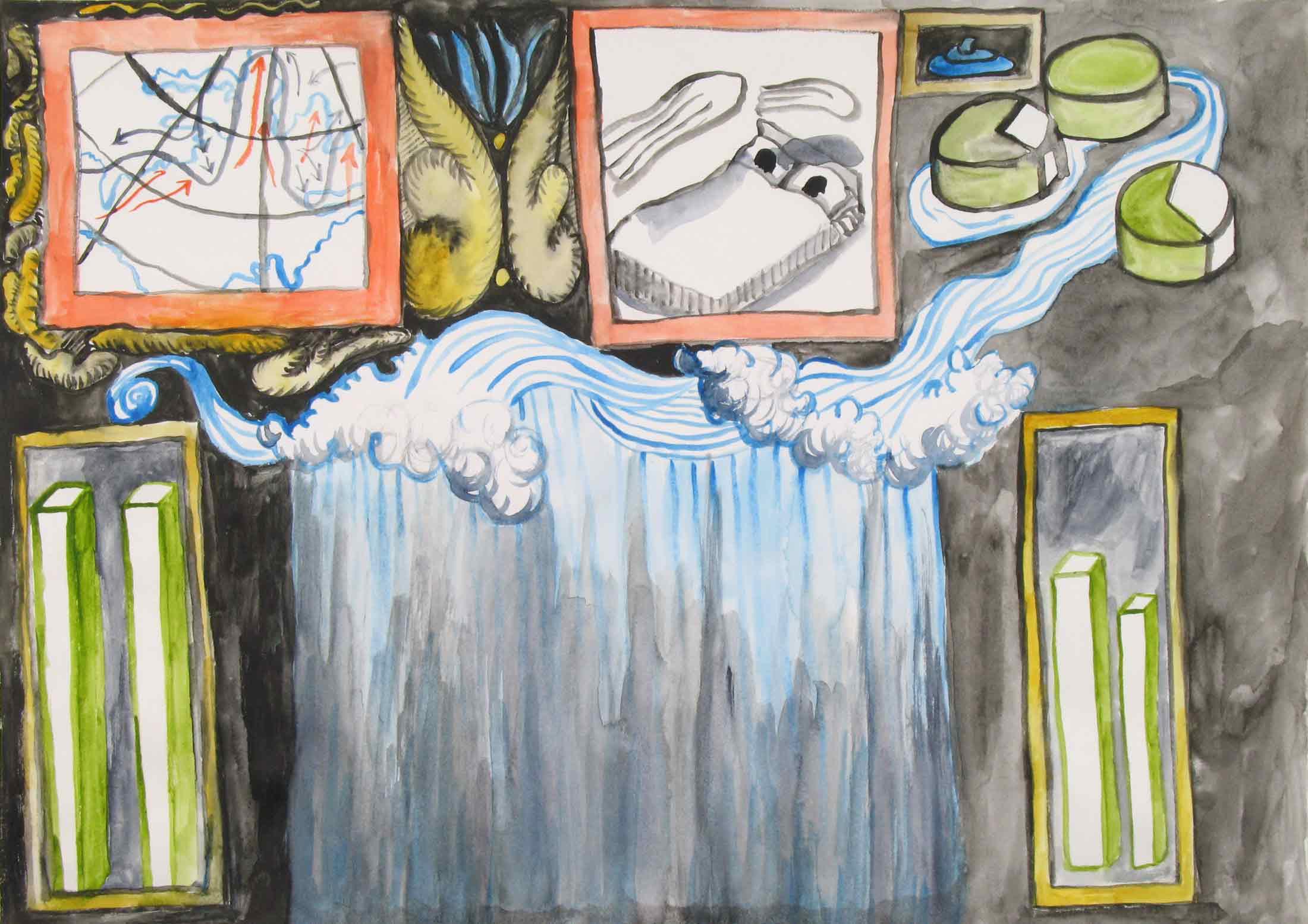 Het weer (The weather)  aquarel, gouache 29 x 42 cm, 2010