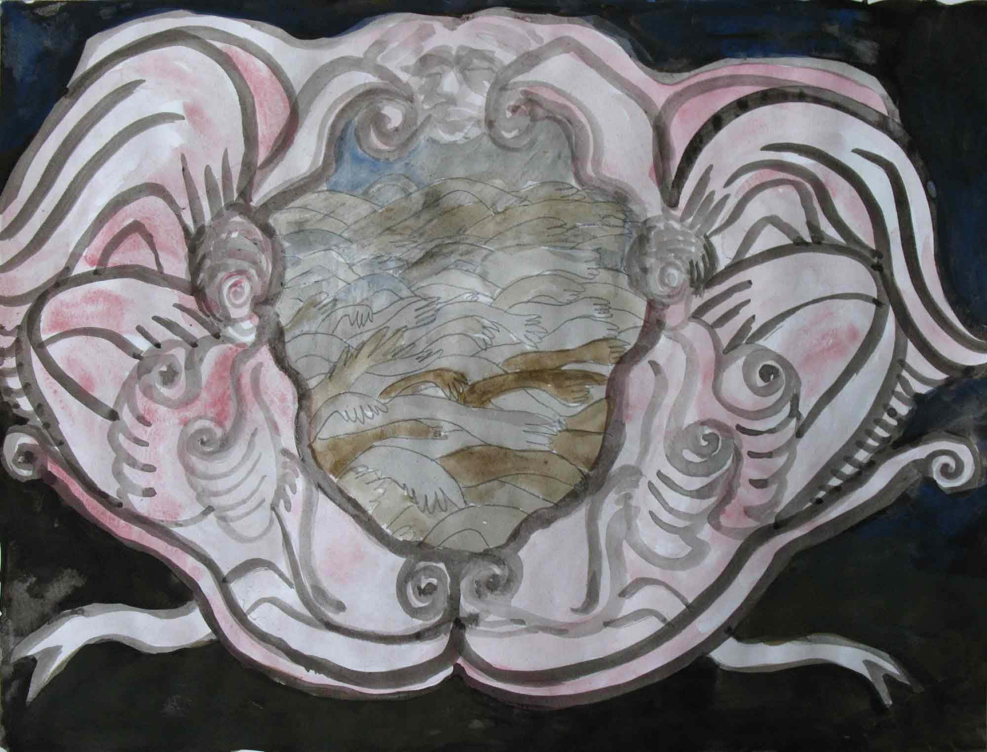 Zeekaak (Sea jaw)  potlood, aquarel, inkt 30 x 39 cm, 2010