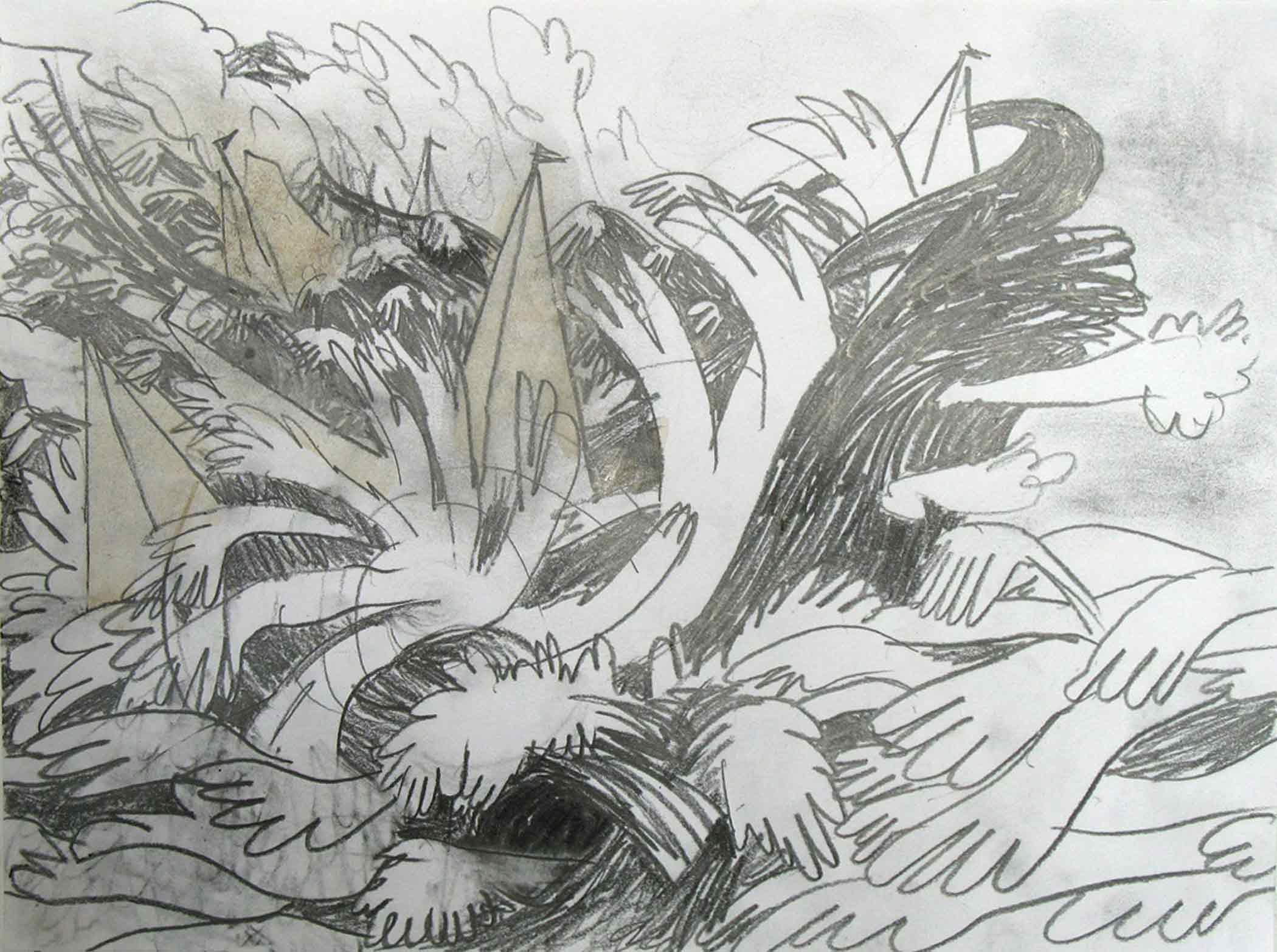 Zeegezicht (Sea piece)  potlood, aquarel 24 x 32 cm, 2010
