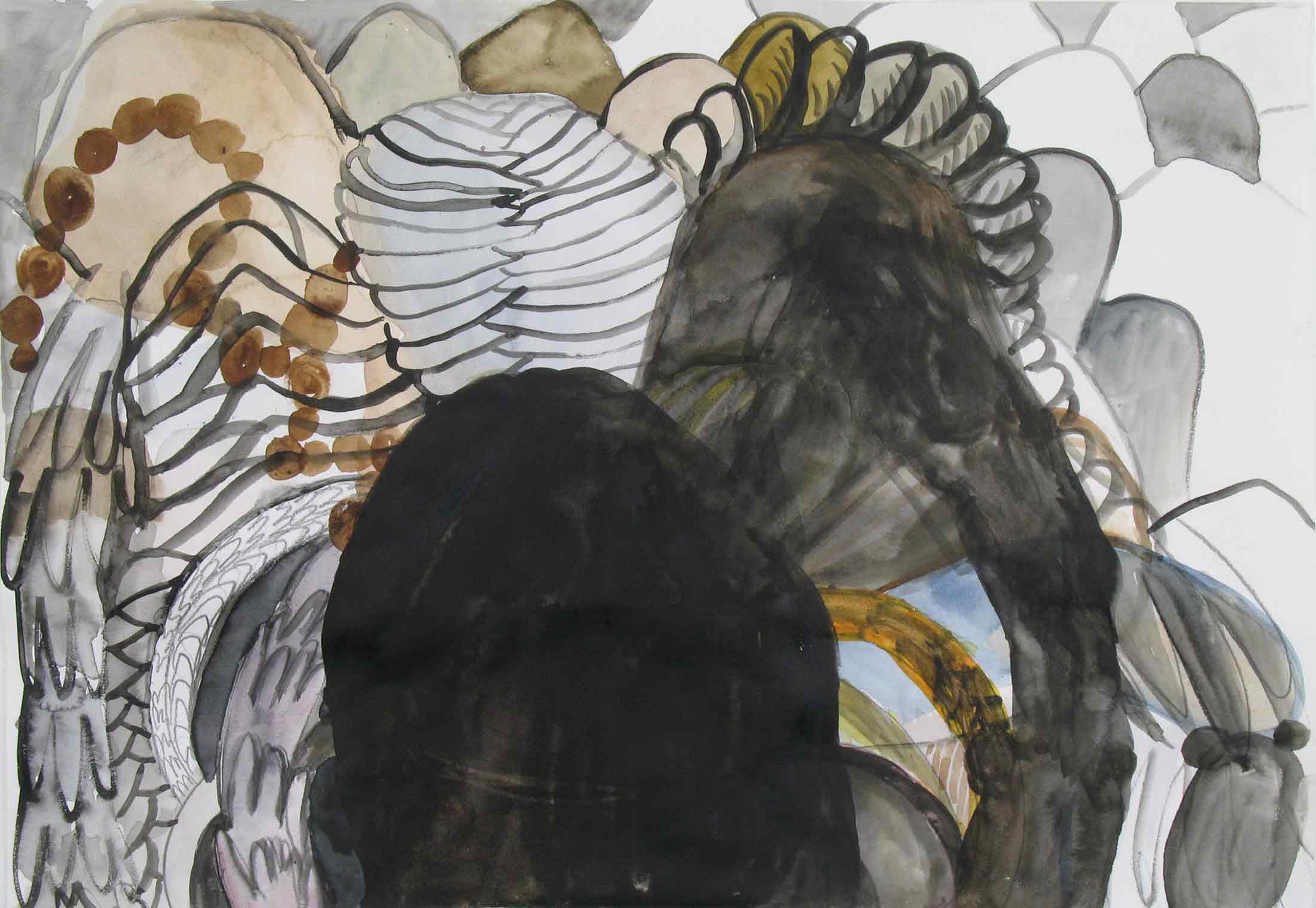 Uit de serie  Departures  gouache, aquarel, potlood 29 x 42 cm, 2010