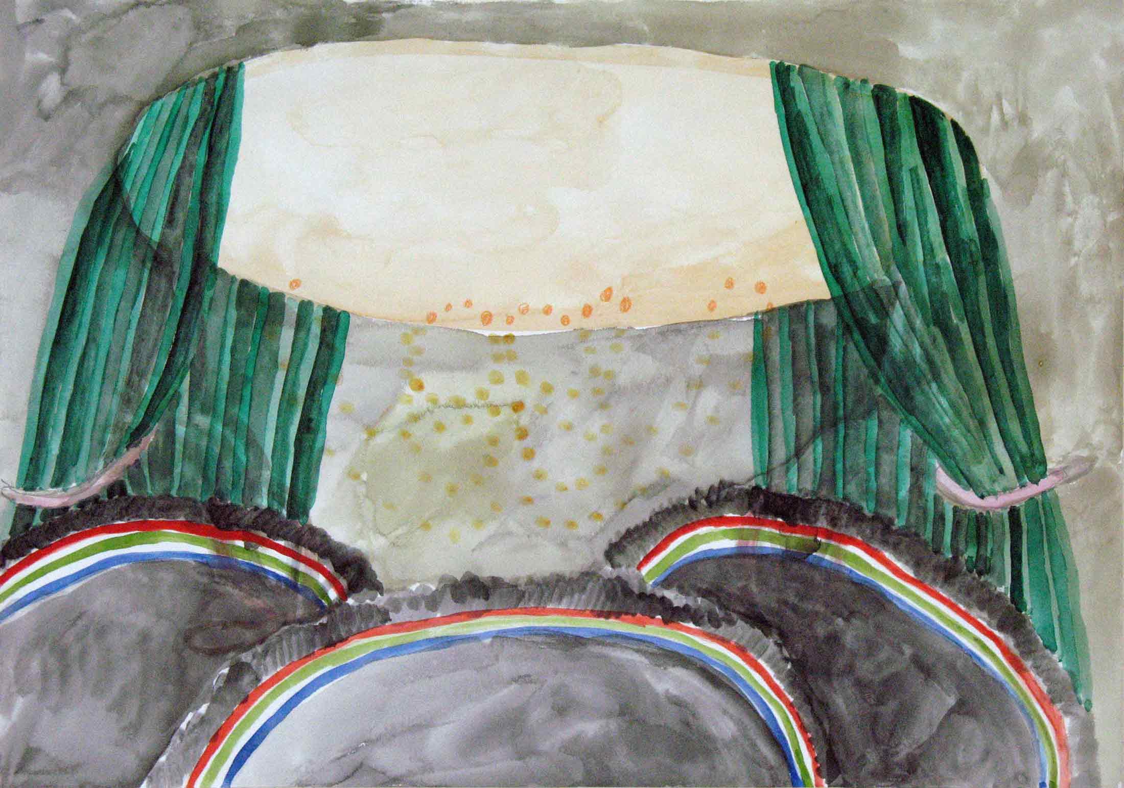 Uit de serie  Departures  gouache, aquarel, potlood 29 x 42 cm, 2011