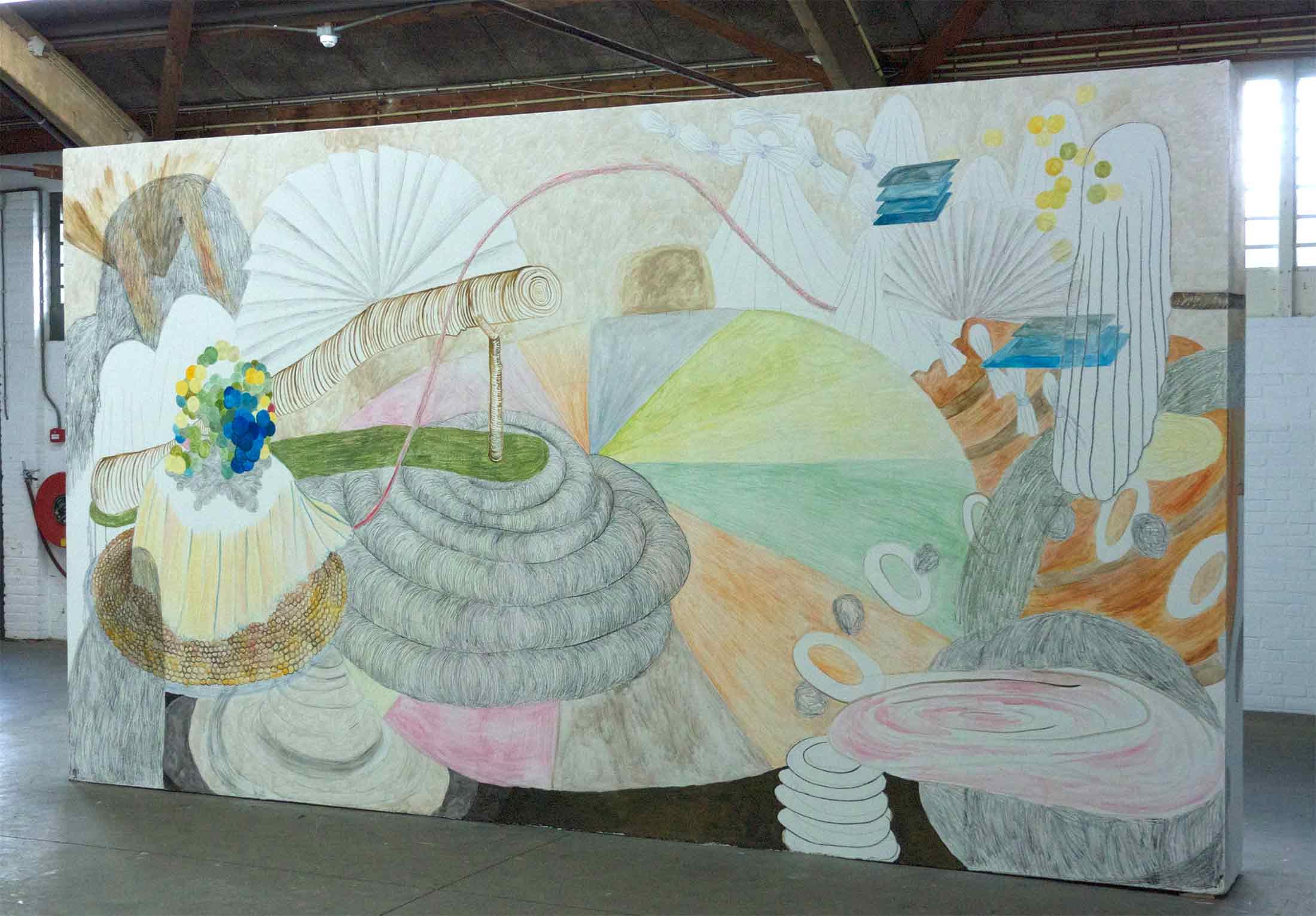 Starter  muurtekening in de Servicegarage, Amsterdam potlood, gouache, inkt, houtskool 205 x 500 cm, 2014