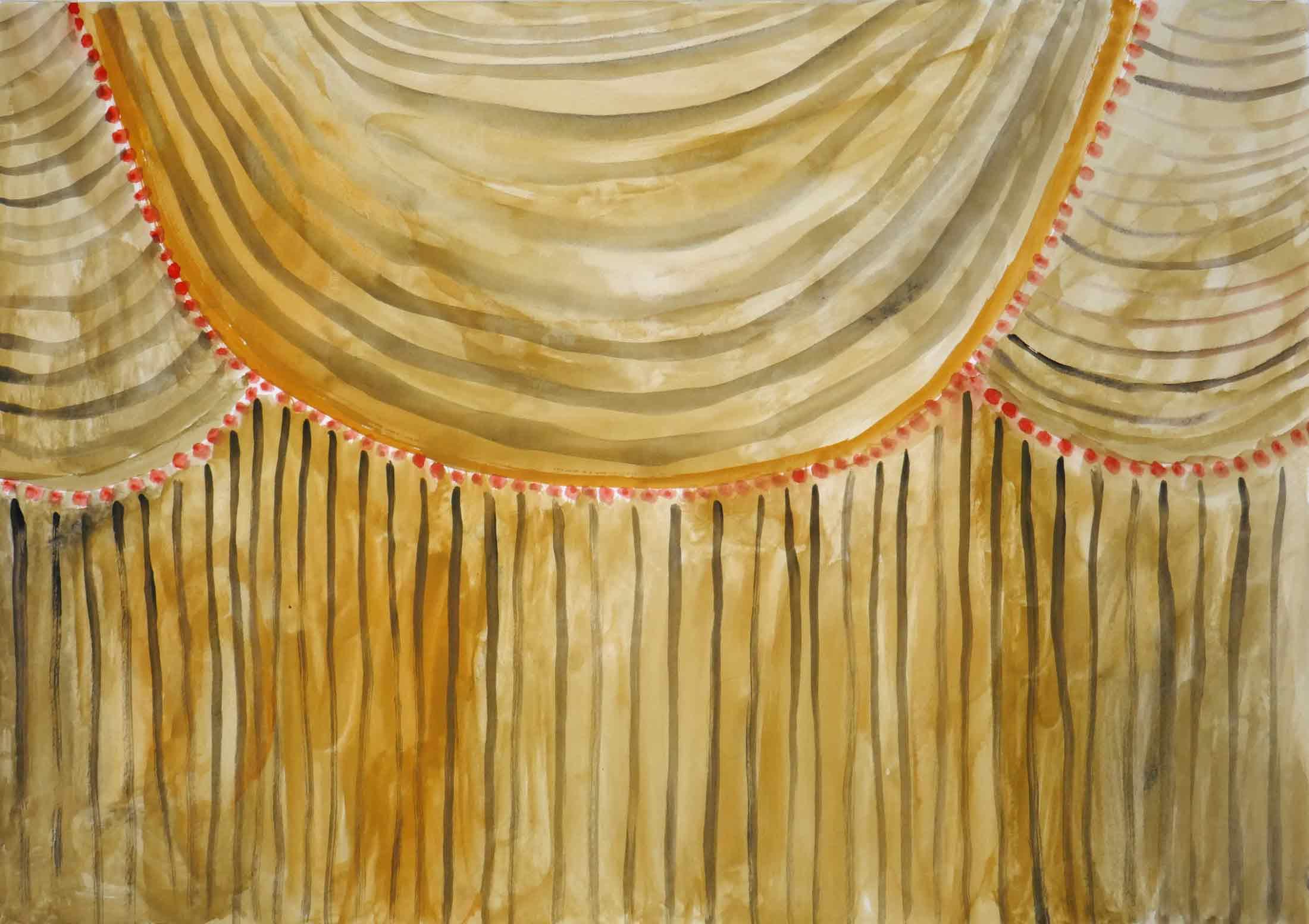 Doek (Curtain)  gouache, aquarel 29 x 29 cm, 2011