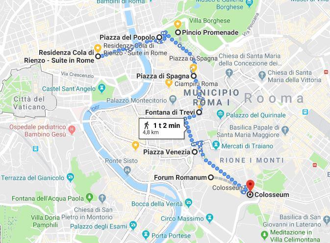 Ensimmäisen päivän kävelyreittimme Cola di Rienzolta Colosseumille. Matka oli vain 4,8 kilometriä ja näimme valtavasti nähtävyyksiä!
