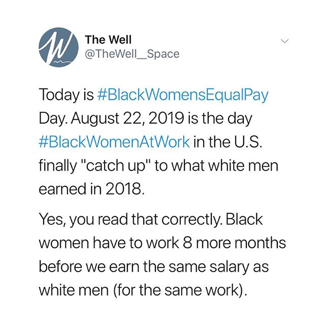 August 22 is #BlackWomensEqualPayDay. Today is the day #BlackWomenAtWork catch up to what the average white man made LAST YEAR. Black women make only about $0.60 for every dollar a white man makes (and Black women make less than white women, who reached equal pay on April 2). ———— 👉🏾👉🏾👉🏾 SWIPE TO LEARN MORE (and follow us on Twitter—we'll be sharing news and reports related to #BlackWomensEqualPay all day ✊🏾)