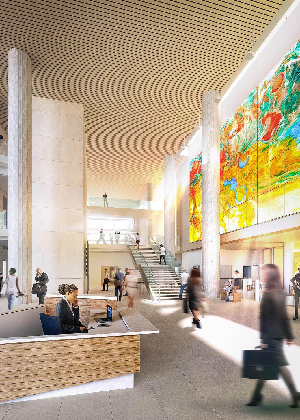 Rendering of Lynn Basa's glass artwork for the new Multnomah County Central Courthouse in Portland, Oregon. Fabrication by Bullseye Studio, project funding by Multnomah County Percent for Art, and project management by Regional Arts & Culture Council (RACC). Image courtesy of SRG Partnership.