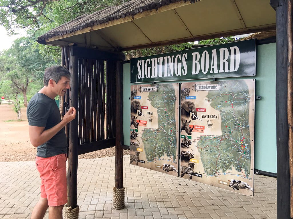 Sightings board in Kruger National Park