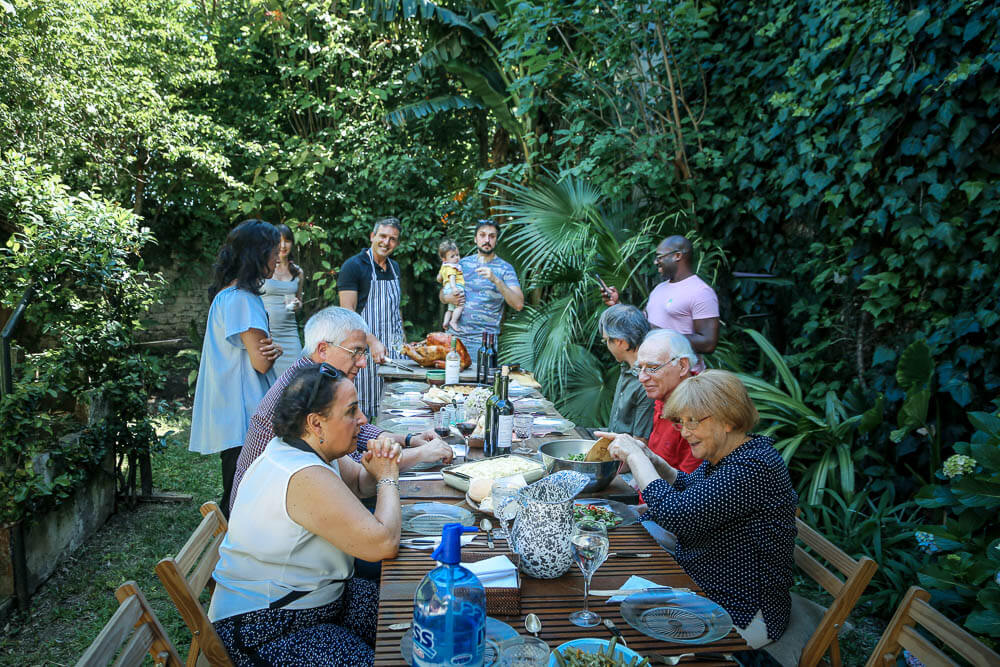 Family together celebrating Thanksgiving in Argentina