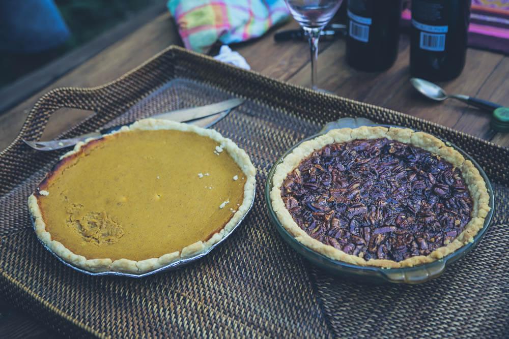 Homemade pumpkin and pecan pies in Argentina